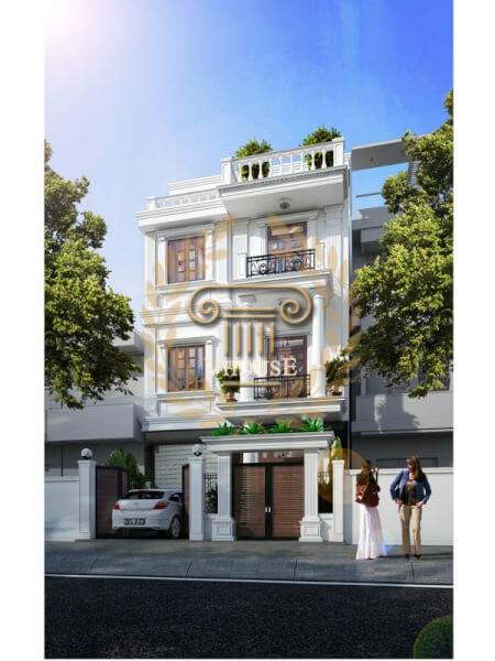 Phối cảnh tổng thể của mẫu thiết kế nhà phố 3 tầng đơn giản