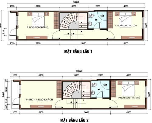 Bản vẽ chi tiết mẫu thiết kế nhà phố mới lạ tầng 1-2