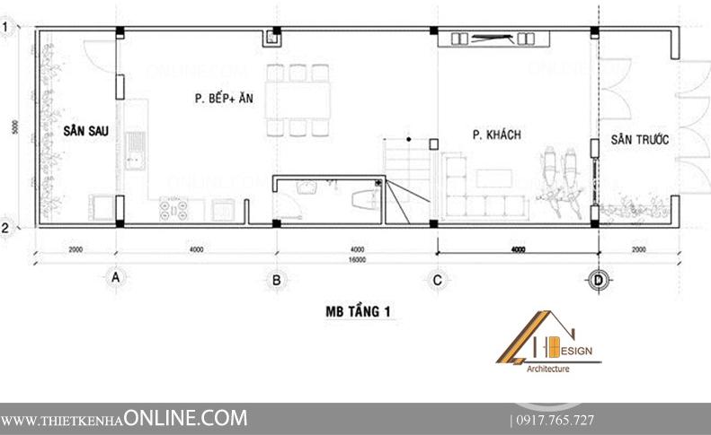 Thiết kế nhà phố 4 tầng, 1 mặt tiền kích thước 16 x5 NP16002