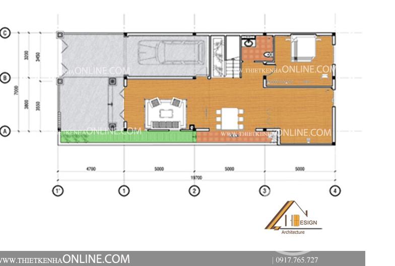 Thiết kế nhà phố bán cổ điển 3 tầng 1 mặt tiền kích thước 8m x 16 m NP16004