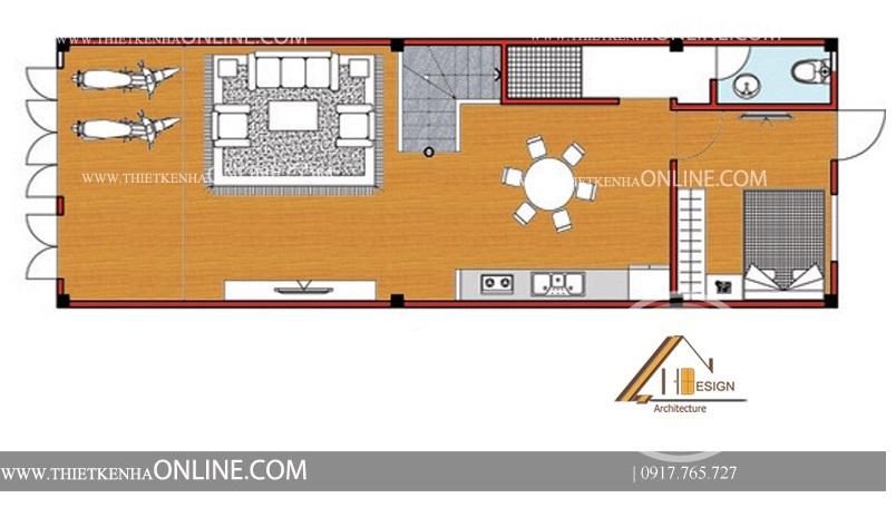 Thiết kế nhà phố mái thái kiểu pháp 3 tầng kích thước 5 x 15m NP16003