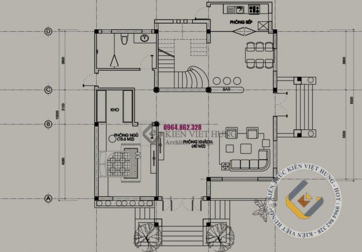 Mặt bằng thiết kế biệt thự ở Đồng Nai tầng 1