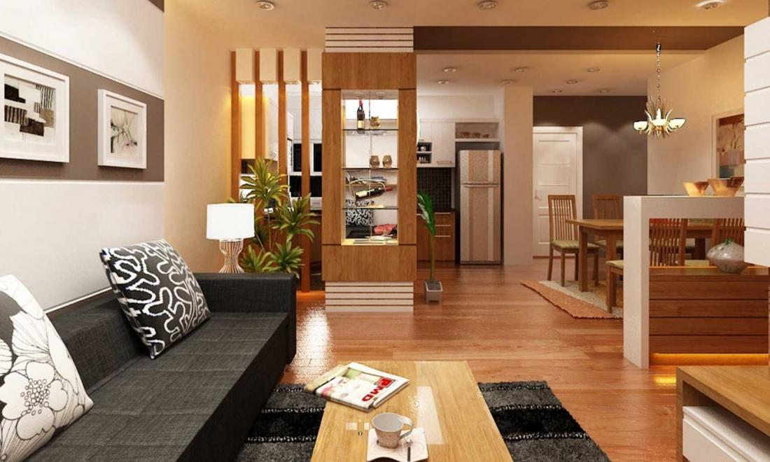 phòng khách liên thông nhà bếp qua vách ngăn