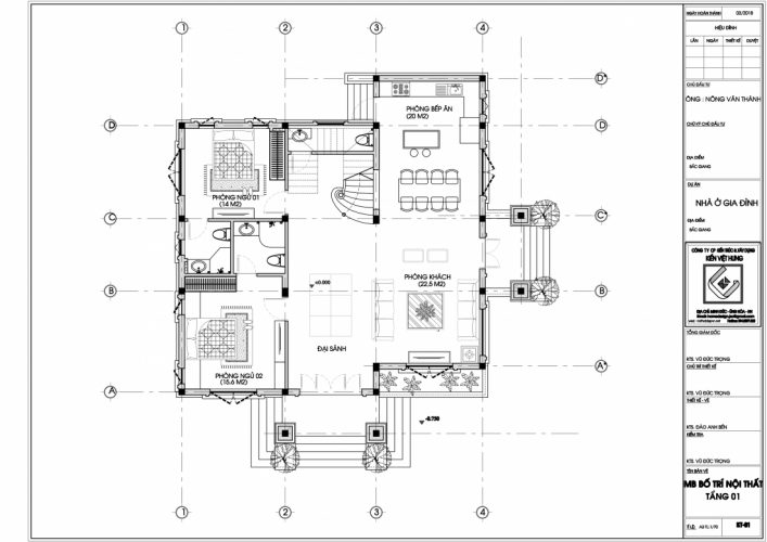 Mặt bằng tầng 1 thiết kế biêt thư Bắc Giang
