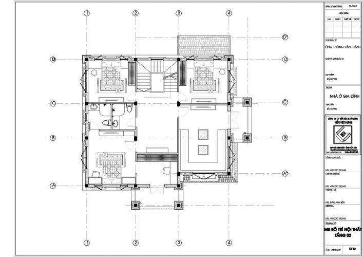 Mặt bằng tầng 2 thiết kế biêt thư Bắc Giang