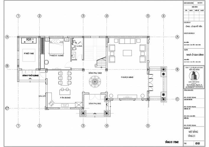 mặt bằng tầng 1 thiết kế biệt thự Ninh Bình