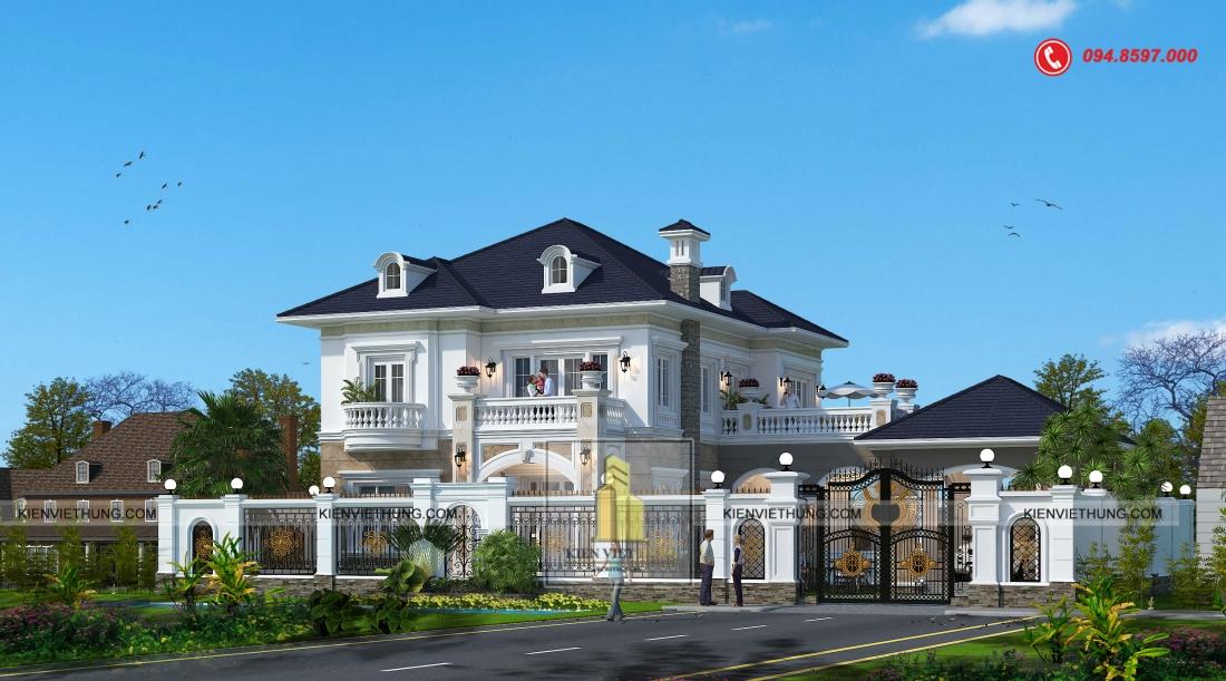 thiết kế biệt thự có bể bơi tân cổ điển