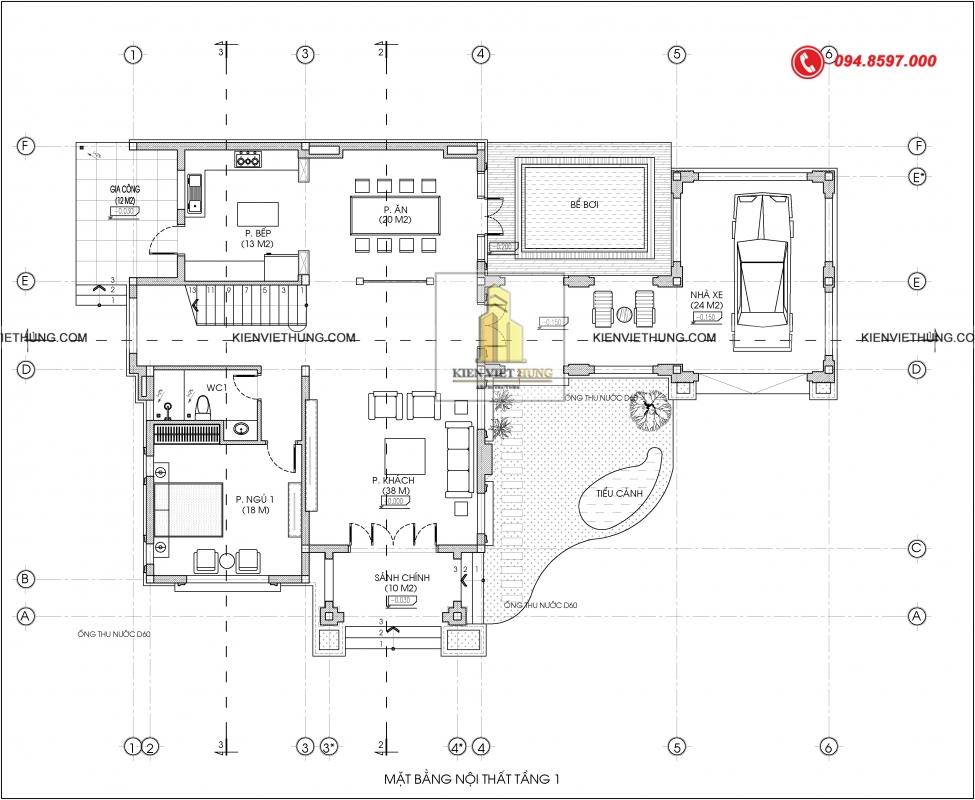 mặt bằng tầng 1 thiết kế biệt thự có bể bơi