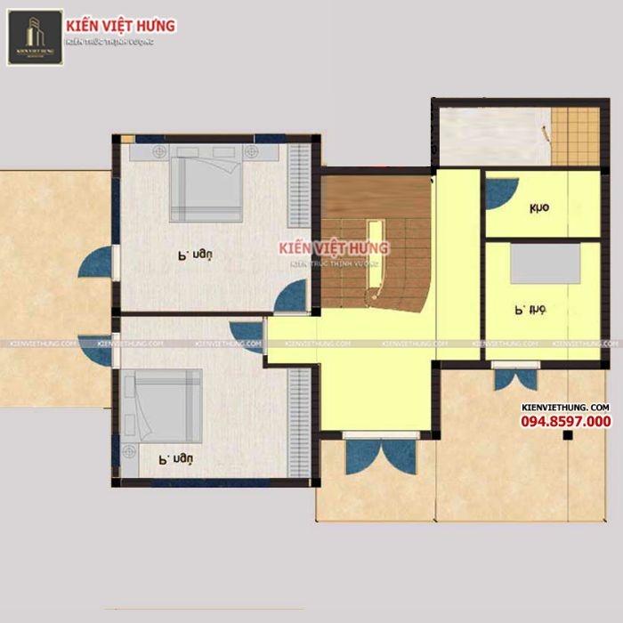 Cách bố trí tầng 2 của biệt thự 2 tầng tân cổ điển