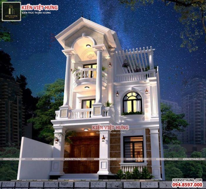 Hình ảnh ngôi nhà vào buổi tối khi kết hợp với ánh đèn trông rất lung linh