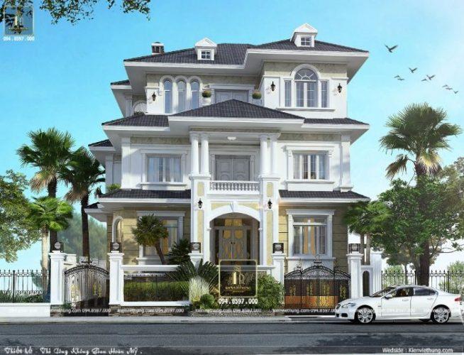 Hình ảnh chính diện của thiết kế nhà biệt thự 3 tầng