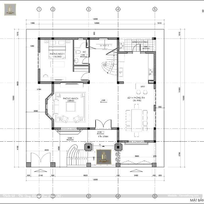 Mặt bằng chi tiết tầng 1 của căn biệt thự