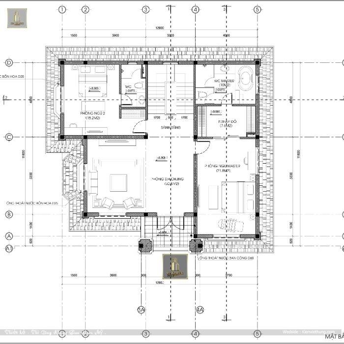 Bản vẽ chi tiết mặt bằng tầng 2 của biệt thự 3 tầng mái thái