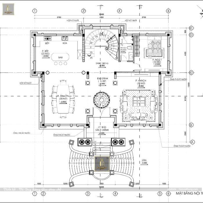 Bản vẽ tầng 2 của ngôi biệt thự tân cổ điển Pháp của anh Tùng Trường Sơn