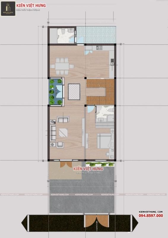 Tầng 2 của ngôi nhà được tối ưu hóa diện tích để sắp xếp các phòng công năng