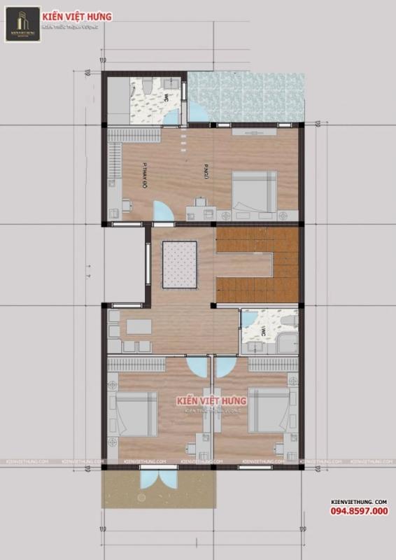 Hình ảnh bản vẽ mặt bằng tầng 1 của biệt thự 3 tầng