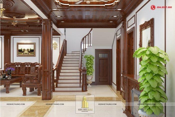 Cầu thang được thiết kế sang trọng, hài hòa với toàn bộ thiết kế nội thất bên trong căn nhà