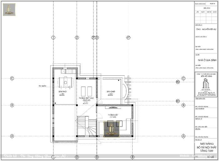 Bản vẽ tầng mái có thiết kế thêm giếng trời của bản thiết kế nhà đẹp 2 tầng
