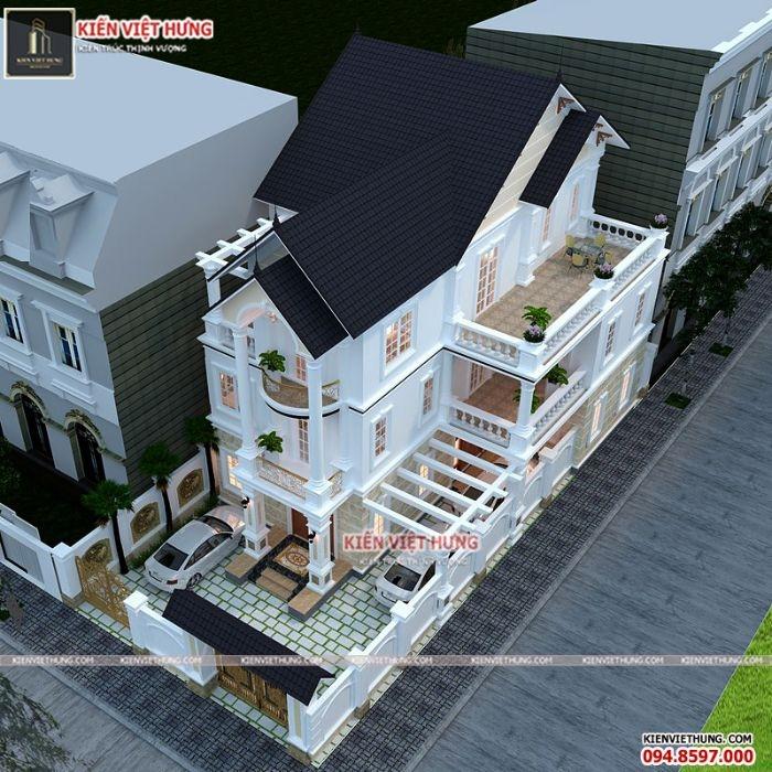 Hình ảnh tổng quan của ngôi nhà khi nhìn từ trên cao xuống