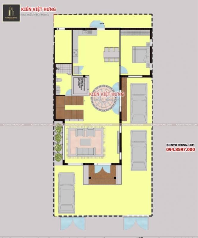 Cách bố trí tầng 1 của biệt thự 3 tầng đẹp