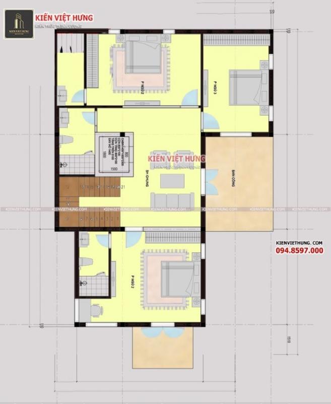 Các phòng công năng của tầng 2 đều được tối ưu diện tích