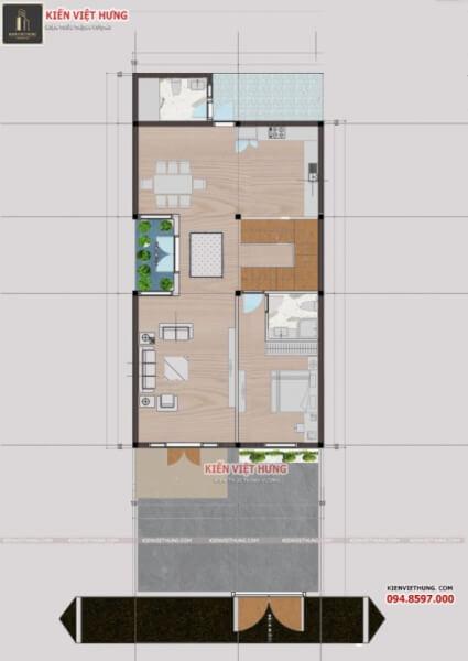 thiết kế biệt thự ở Đồng Hới 3 tầng