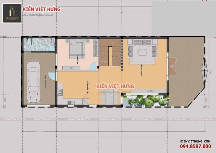 mặt bằng tầng 1 thiết kế biệt thự ở Vĩnh Phúc
