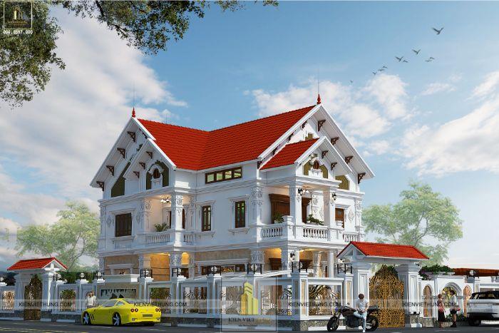 Hình ảnh mặt trước của ngôi biệt thự tân cổ điển đẹp nhất Ninh Bình
