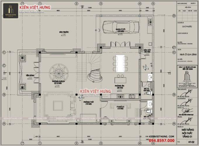 Mặt bằng biệt thự 2 tầng có sự khoa học khi bố trí tầng 1