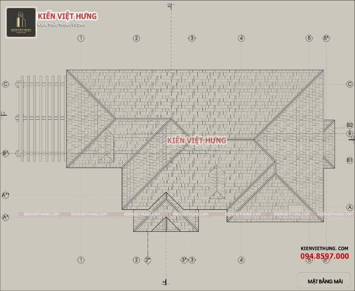 Bản vẽ mái thái của ngôi nhà một cách chi tiết