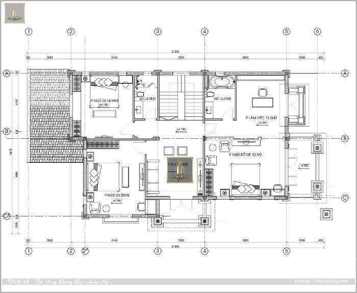 Hình ảnh bản thiết kế tầng 2 của biệt thự tân cổ điển đẹp