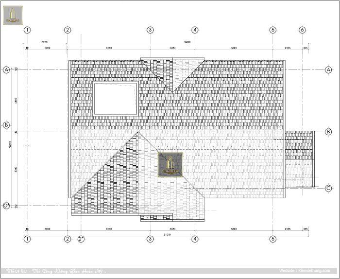 Thiết kế phần mái của biệt thự