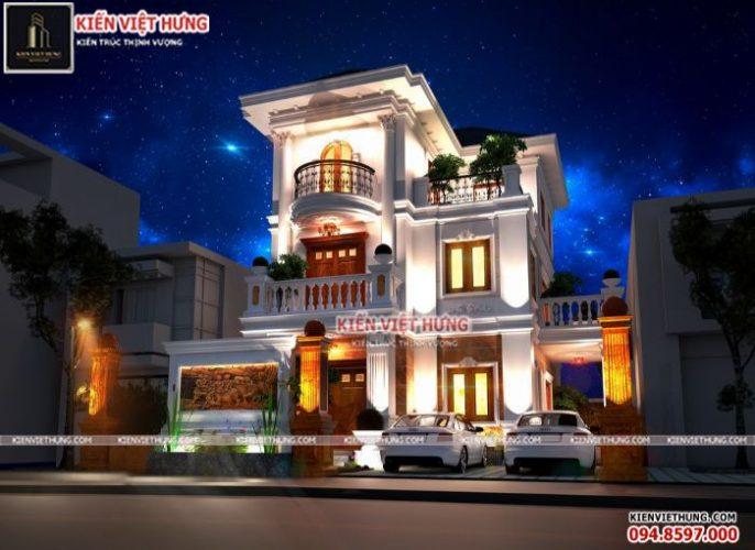 Thiết kế biệt thự 3 tầng vô cùng lung linh khi về đêm