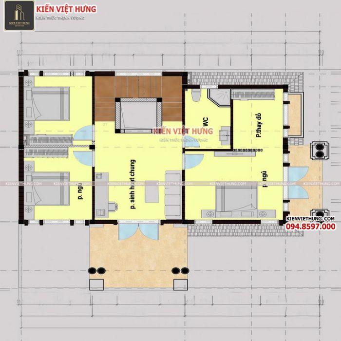 Tầng 2 của biệt thự chủ yếu để bố trí phòng ngủ các thành viên