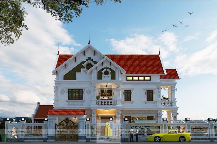 thiết kế biệt thự ở Ninh Bình trông rất nguy nga và bề thế