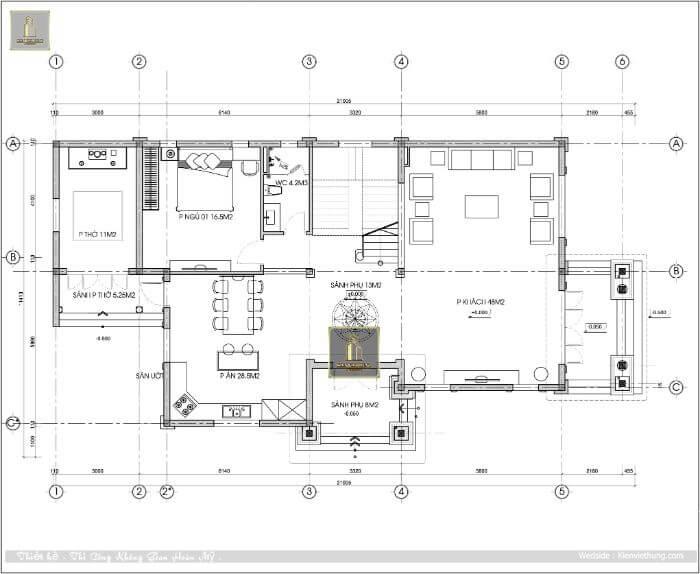 Không gian tầng 1 của căn biệt thự kiểu Pháp đẹp của anh Tiến