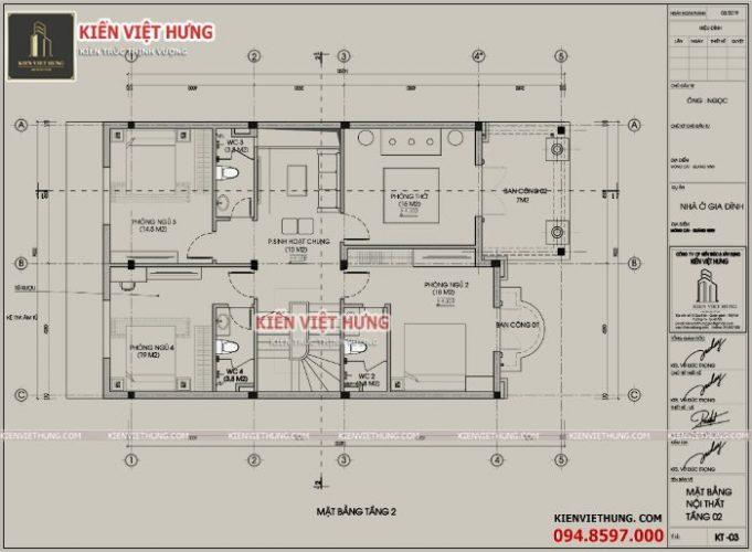 Bản vẽ thiết kế tầng 2 của dinh thự gia đình anh Ngọc