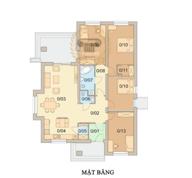 Mẫu biệt thự 1 tầng đơn giản