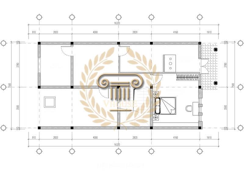 Mặt bằng tầng 3 của thiết kế nhà phố 3 tầng đơn giản