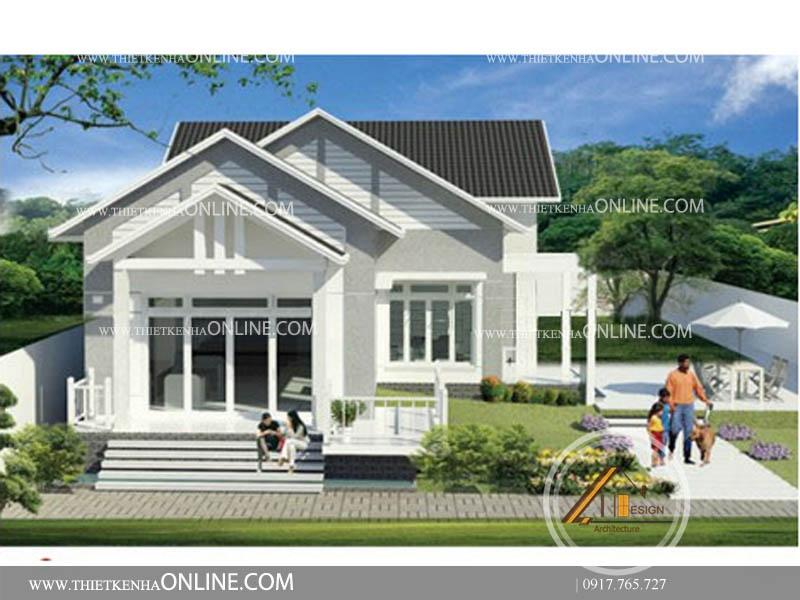 Thiết kế biệt thự sân vườn mini 1 tầng kích thước 9m x15 m BT16001