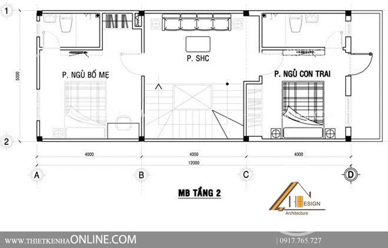 Thiết kế nhà phố 4 tầng 1 mặt tiền kích thước 16 x5 cho cặp vợ chồng trẻ