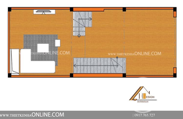 Mặt bằng tầng 2 mẫu thiết kế nhà mặt phố 4 tầng có mặt tiền 4m là không gian sinh hoạt, ăn uống của gia đình.Các hình khối cũng được vận dụng trong khu vực bếp, một chiếc bàn hình chữ nhật ở ngay gần giếng trời. Bếp nấu ăn, chậu rửa, tủ đựng đồ bếp được đặt ở khu riêng biệt, cạnh nhau, thuận tiện trong quá trình nấu nướng cũng như vệ sinh. Nhà vệ sinh đặt ngay cạnh cầu thang tận dụng được phần diện tích chết cho căn nhà. Phía trước là ban công bố trí tiểu cảnh mang lại cảm giác thư thái và thoải mái trong không gian chan hòa cùng thiên nhiên.