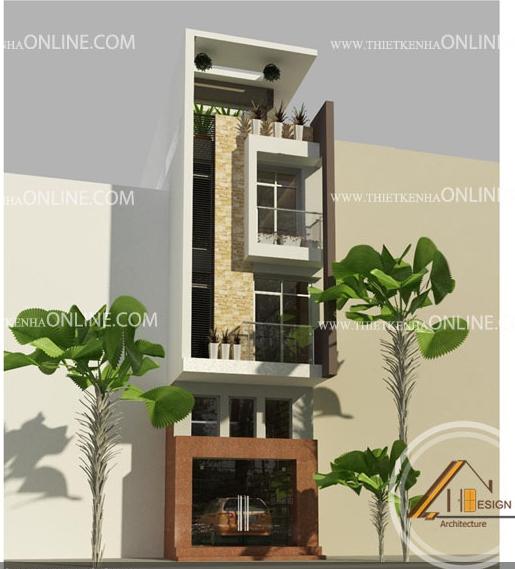 Thiết kế nhà phố 4 tầng, 1 mặt tiền kích thước 4 x12m NP16001