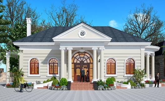 Thiết kế nhà biệt thự kiểu Pháp 1 tầng