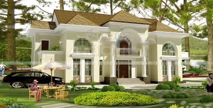 12 mẫu thiết kế biệt thự cổ điển 2 tầng đẹp hút mắt - Ảnh 2