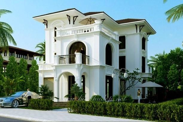 12 mẫu thiết kế biệt thự cổ điển 2 tầng đẹp hút mắt - Ảnh 3