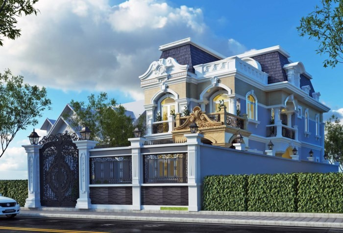 12 mẫu thiết kế biệt thự cổ điển 2 tầng đẹp hút mắt - Ảnh 5