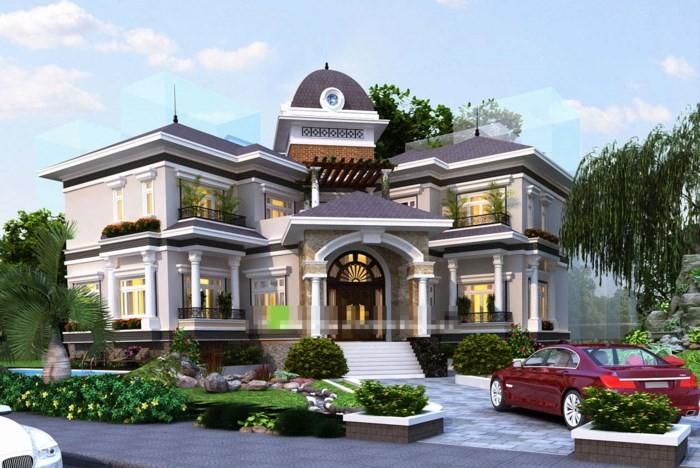 12 mẫu thiết kế biệt thự cổ điển 2 tầng đẹp hút mắt - Ảnh 7