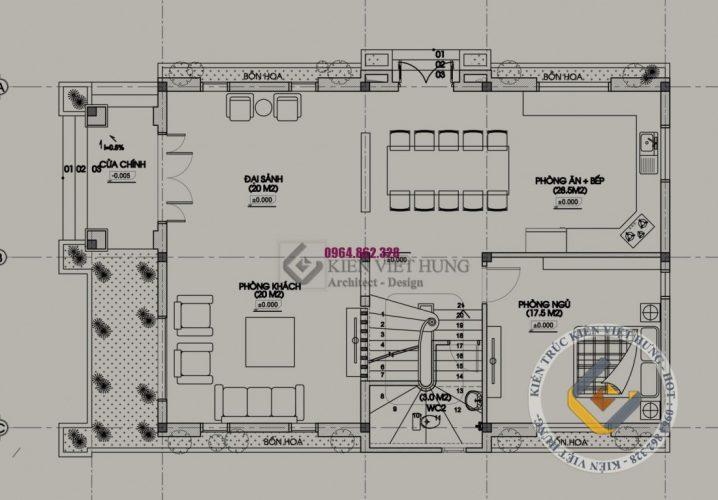 Mặt bằng tầng 1 thiết kế biệt thự ở Lai Châu