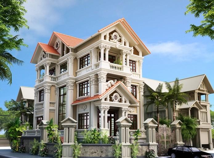 thiết kế biệt thự ở Hòa Bình với phong cách tân cổ điển